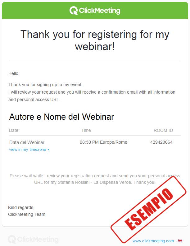 Email di conferma registrazione